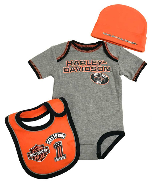 Harley-Davidson Baby Boys' 3 Piece Creeper, Bib & Hat Set, Gray & Orange 2551805 - Wisconsin Harley-Davidson