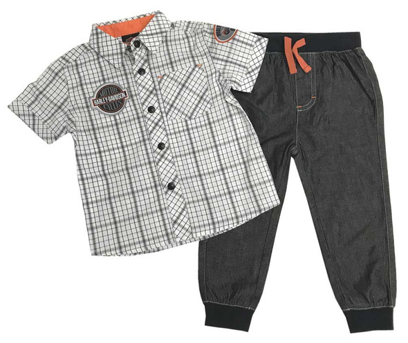 Harley-Davidson Baby Boys' Plaid Shirt & Black Denim Pant 2-Piece Set 2061809 - Wisconsin Harley-Davidson