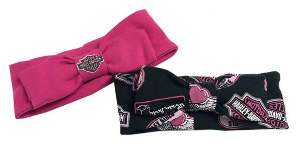 Harley-Davidson Baby Girls' 2-Pack Infant Bow Headbands, Pink & Black 7201815 - Wisconsin Harley-Davidson