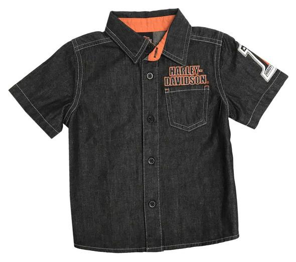 Harley-Davidson Little Boys' Embroidered Short Sleeve Black Denim Shirt 1071829 - Wisconsin Harley-Davidson
