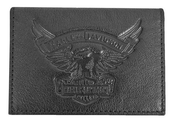 Harley-Davidson Men's Eagle Embossed Leather Guesseted Card Case EE9089L-BLK - Wisconsin Harley-Davidson