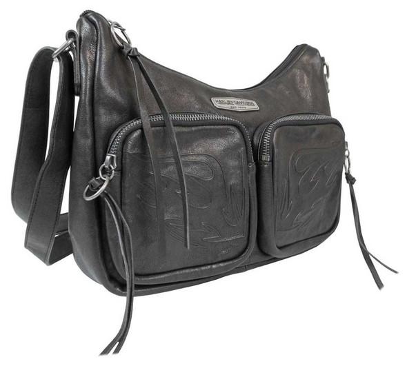 Harley-Davidson Women's Flame Embossed Leather Shoulder Bag, Black FE2729L-BLK - Wisconsin Harley-Davidson