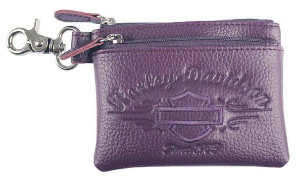Harley-Davidson Women's Purple Script Embossed Zipper Coin Pouch LSE6194-PURPLE - Wisconsin Harley-Davidson