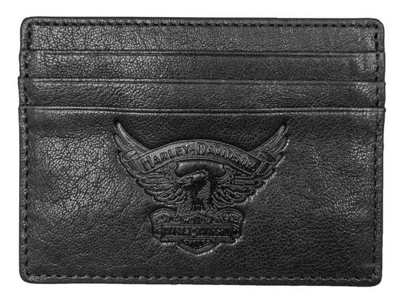 Harley-Davidson Men's Eagle Embossed Leather Front Pocket Wallet EE9076L-BLK - Wisconsin Harley-Davidson
