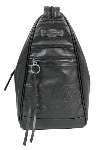 Harley-Davidson Women's Flame Embossed Leather Sling/Backpack, Black FE2713L-BLK - Wisconsin Harley-Davidson