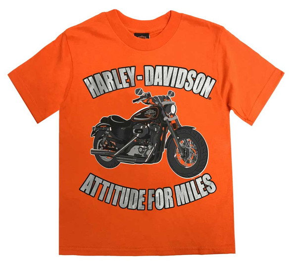 Harley-Davidson Little Boys' Attitude For Miles Short Sleeve Tee, Orange 1580718 - Wisconsin Harley-Davidson