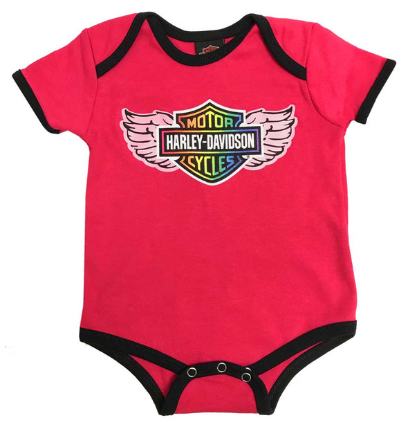 Harley-Davidson Baby Girls' Rainbow Winged Bar & Shield Creeper, Pink 3000875 - Wisconsin Harley-Davidson