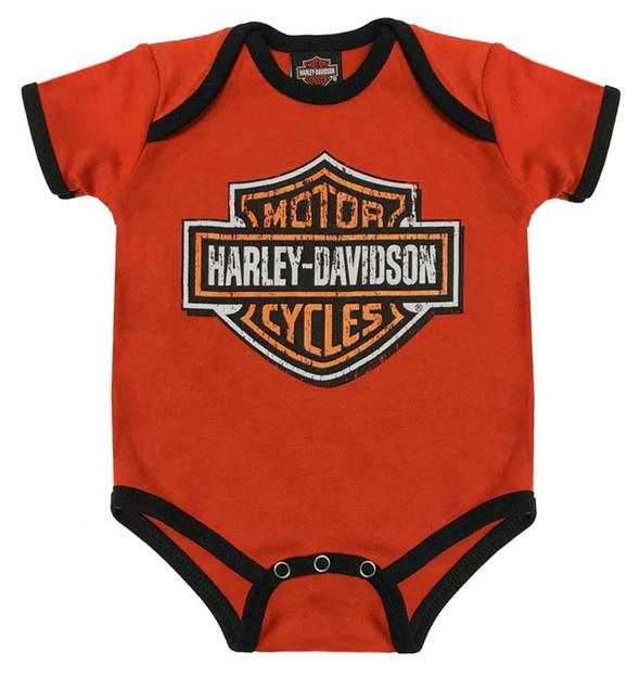 Harley-Davidson Baby Boys' Genuine Legend Short Sleeve Creeper, Orange 3050873 - Wisconsin Harley-Davidson