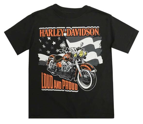 Harley-Davidson Little Boys' Loud & Proud Short Sleeve Tee, Black 1580724 - Wisconsin Harley-Davidson