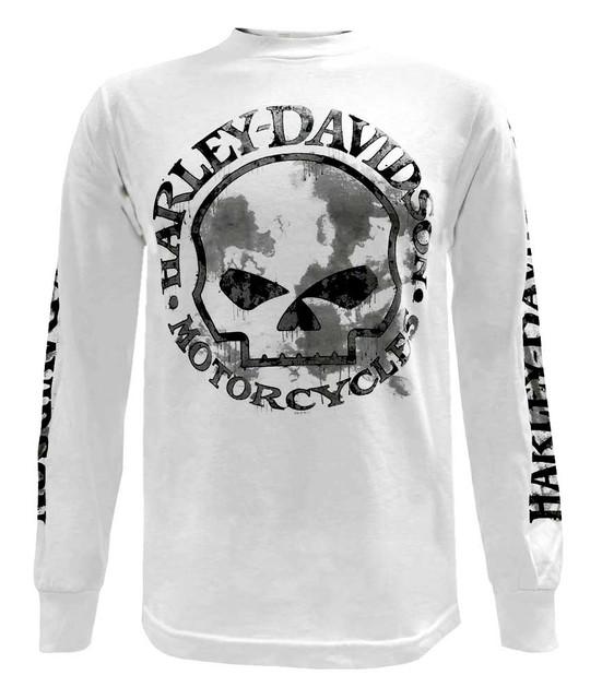 Harley-Davidson Men's Handmade Willie G Skull Long Sleeve T-Shirt, White - Wisconsin Harley-Davidson