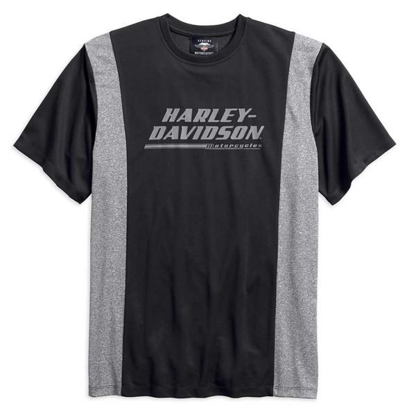 Harley-Davidson Men's Pique Colorblocked Short Sleeve Tee, Black 96130-18VM - Wisconsin Harley-Davidson