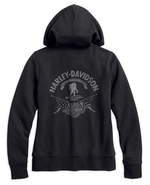 Harley-Davidson Women's WWP Stars & Stripes Zip-Up Hoodie, Black 99102-17VW - Wisconsin Harley-Davidson