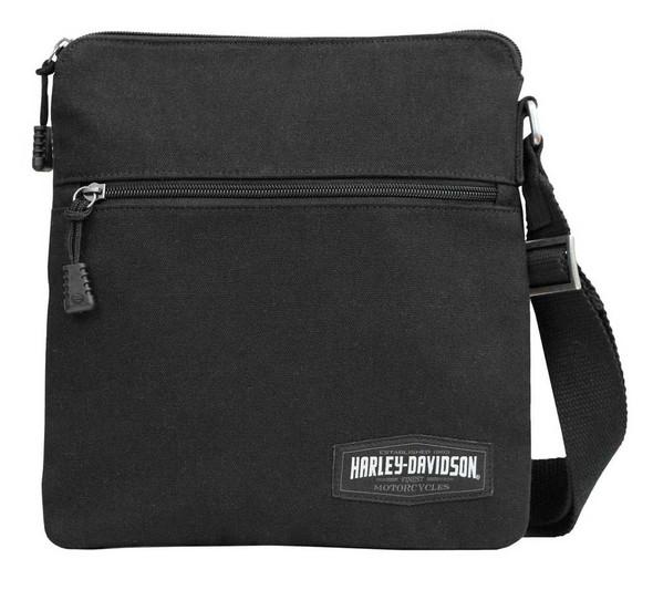 Harley-Davidson Men's H-D Script Canvas Crossbody Bag, Black CC8100S-BLK - Wisconsin Harley-Davidson