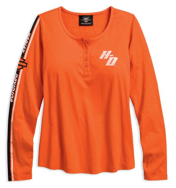 Harley-Davidson Women's Sleeve Stripe Long Sleeve Henley, Orange 96158-18VW - Wisconsin Harley-Davidson