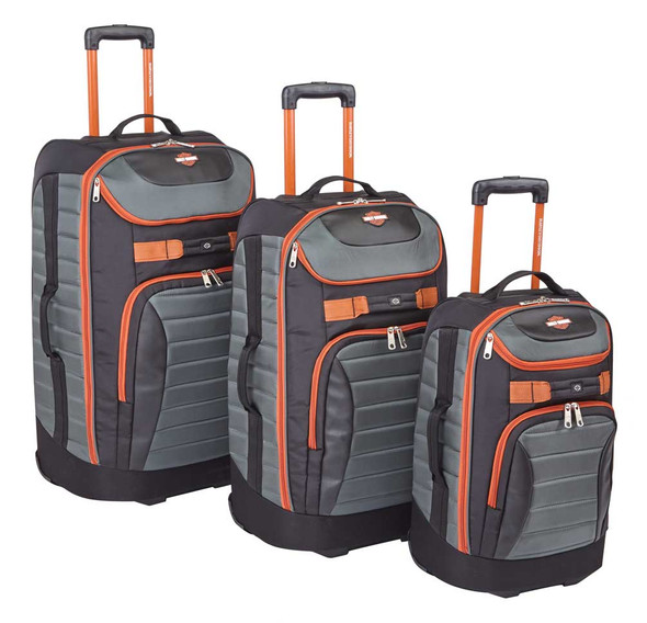 "Harley-Davidson 3 Piece Quilted Pullman Luggage Bag Set, Gray & Rust 29"" 25"" 21"" - Wisconsin Harley-Davidson"