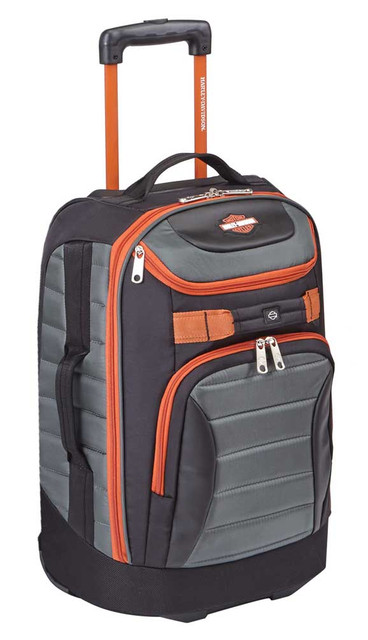 "Harley-Davidson 25"" Quilted Pullman Luggage Bag w/ Wheels 99327 GRAY/RUST - Wisconsin Harley-Davidson"