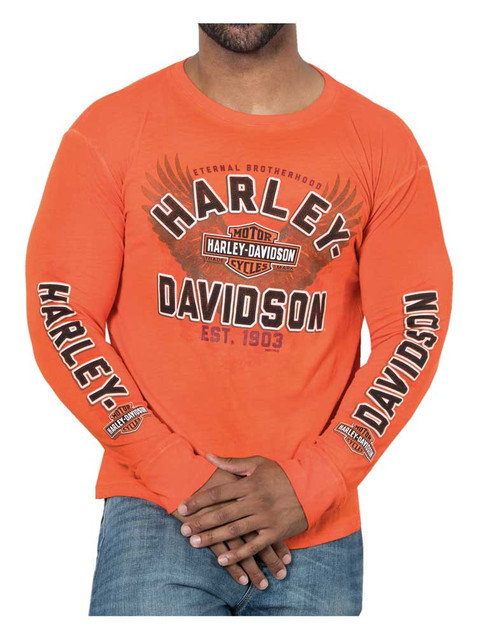 Harley-Davidson Men's Classic Stitch Premium Long Sleeve Shirt - Orange Wash - Wisconsin Harley-Davidson