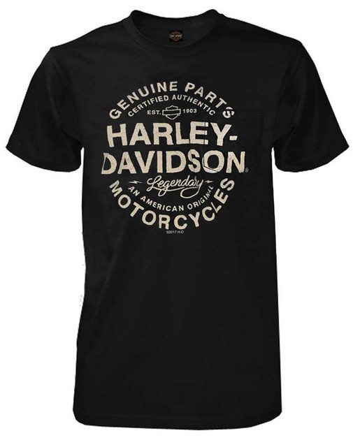 Harley-Davidson Men's On Rails Short Sleeve Chest Pocket T-Shirt - Black - Wisconsin Harley-Davidson