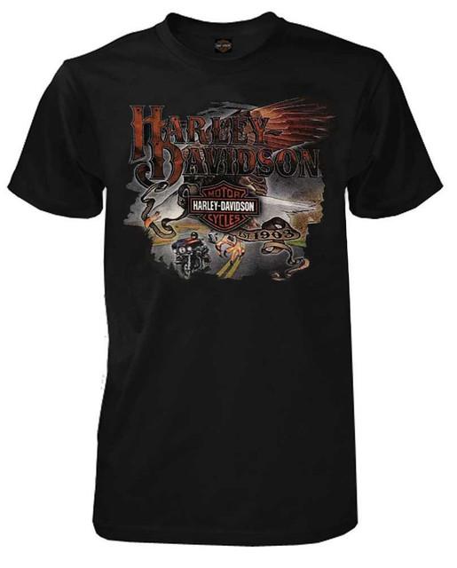 Harley-Davidson Men's Longest Ride Bar & Shield Short Sleeve T-Shirt - Black - Wisconsin Harley-Davidson