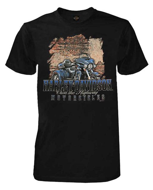 Harley-Davidson Men's Distressed Highway Short Sleeve Crew-Neck T-Shirt, Black - Wisconsin Harley-Davidson