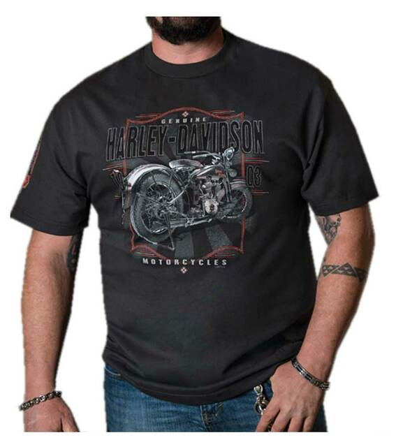 Harley-Davidson Men's 1903 Timeless Short Sleeve Crew Neck Shirt – Black - Wisconsin Harley-Davidson