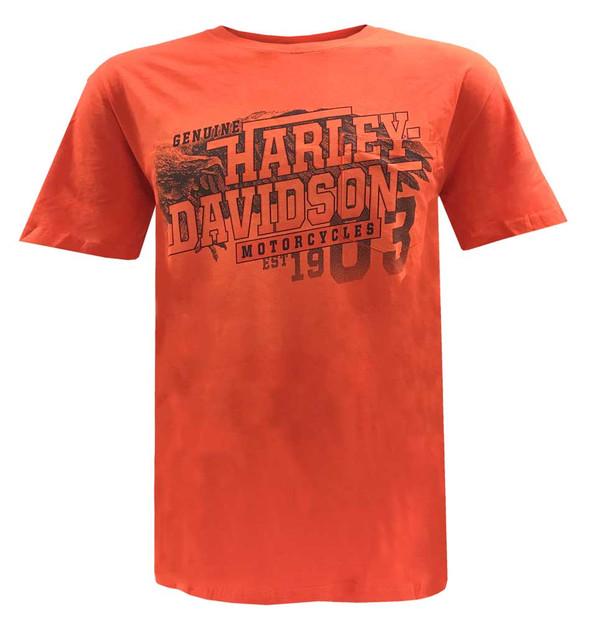 Harley-Davidson Men's Engraved Short Sleeve Chest Pocket T-Shirt, Tangerine - Wisconsin Harley-Davidson