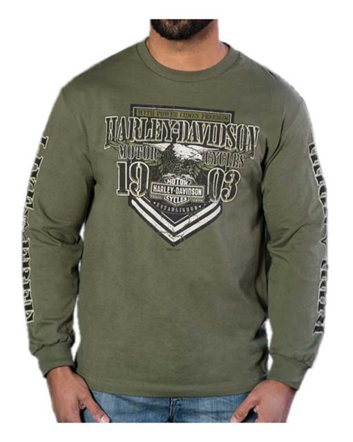 Harley-Davidson Men's Ranger Crew-Neck Long Sleeve Shirt - Military Green - Wisconsin Harley-Davidson