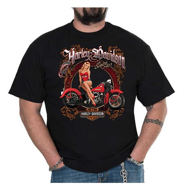 Harley-Davidson Men's Vintage Pinup Crew-Neck Short Sleeve T-Shirt - Black - Wisconsin Harley-Davidson