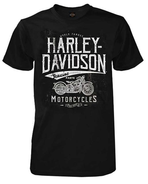 Harley-Davidson Men's Vintage Road Side Short Sleeve Crew T-Shirt, Black - Wisconsin Harley-Davidson