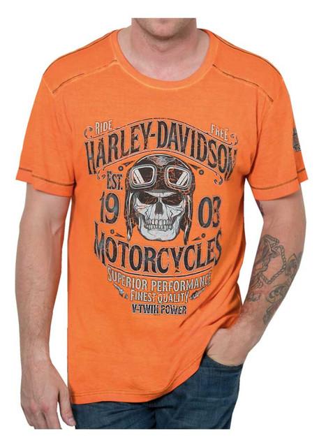 Harley-Davidson Men's Bodyguard Premium Short Sleeve T-Shirt, Orange Wash - Wisconsin Harley-Davidson