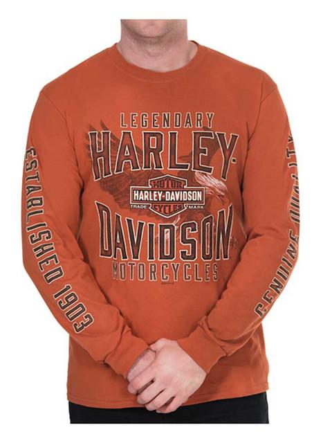 Harley-Davidson Men's Chase Eagle Crew-Neck Long Sleeve Shirt - Texas Orange - Wisconsin Harley-Davidson
