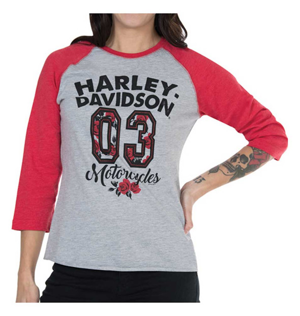 Harley-Davidson Women's Colorblocked Roses 3/4 Sleeve Raglan Tee, Gray/Red - Wisconsin Harley-Davidson