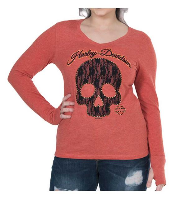 Harley-Davidson Women's Laced Skull Long Sleeve Tee w/ Thumbholes - Cayenne - Wisconsin Harley-Davidson