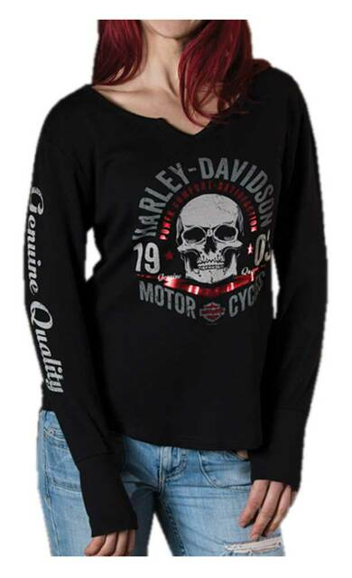 Harley-Davidson Women's Foil Printed Commando Skull Long Sleeve Shirt, Black - Wisconsin Harley-Davidson