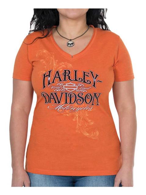 Harley-Davidson Women's Rebel Metallic Short Sleeve V-Neck Tee, Orange - Wisconsin Harley-Davidson