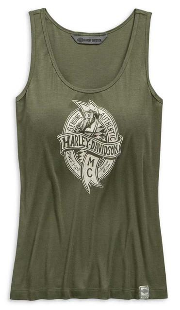 Harley-Davidson Women's American Muscle Printed Tank, Green 99114-19VW - Wisconsin Harley-Davidson
