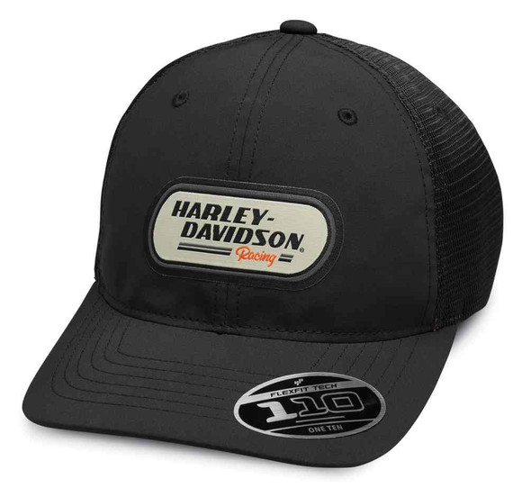 Harley-Davidson Men's H-D Racing Patch Trucker Baseball Cap - Black 99459-19VM - Wisconsin Harley-Davidson