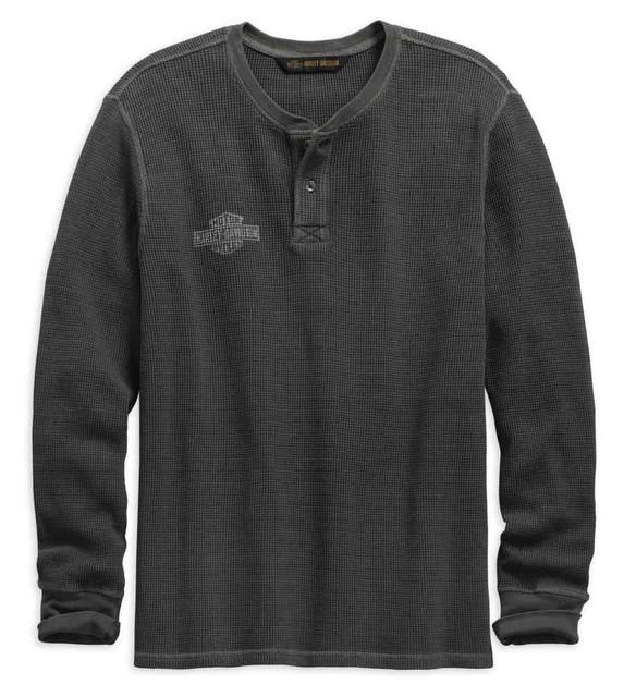Grey Harley-Davidson Official Mens Washed Waffle Knit Slim Fit Henley