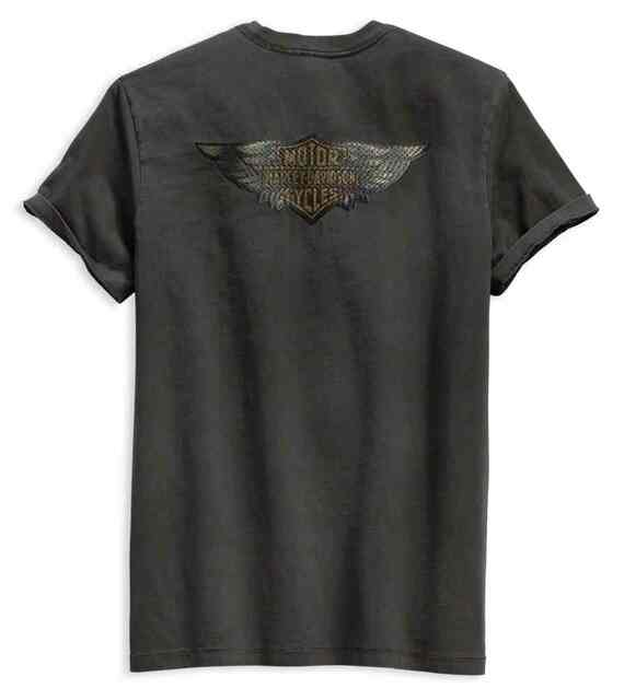 Harley-Davidson Men's Winged Logo Slim Fit Short Sleeve Tee, Gray 99140-19VM - Wisconsin Harley-Davidson
