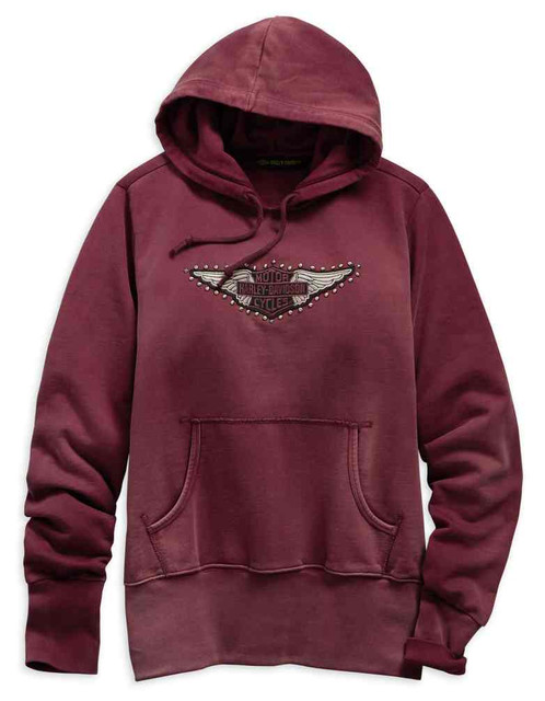 Harley-Davidson Women's Studded Wings Pullover Hoodie - Red 99122-19VW - Wisconsin Harley-Davidson