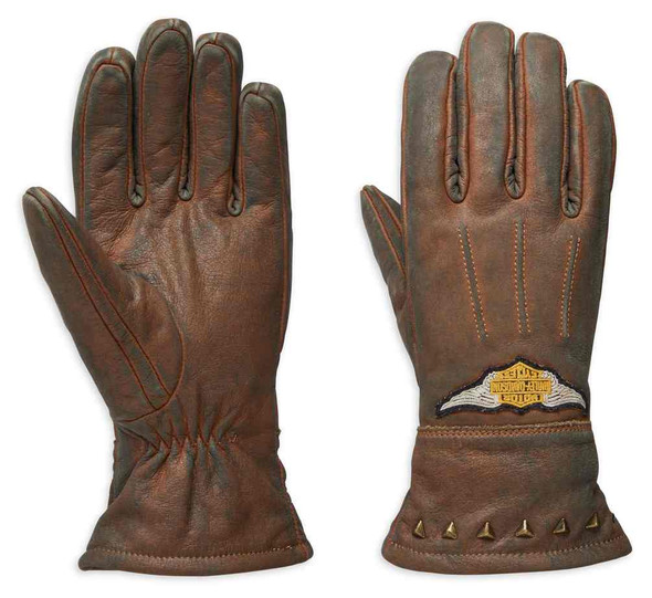 Harley-Davidson Women's Element Full-Finger Leather Gloves, Brown 98105-19VW - Wisconsin Harley-Davidson