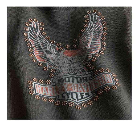 Harley-Davidson Women's Studded Distressed Eagle Long Sleeve Shirt 99124-19VW - Wisconsin Harley-Davidson