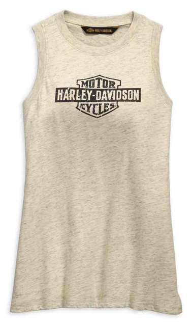 Harley-Davidson Women's Distressed Logo Tank Top, Off-White 99255-19VW - Wisconsin Harley-Davidson