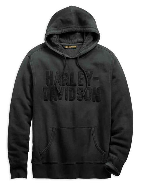 Harley-Davidson Men's Felt Lettering Slim Fit Pullover Hoodie, Gray 99273-19VM - Wisconsin Harley-Davidson