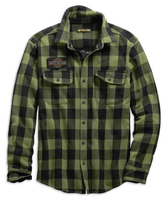 Harley-Davidson Men's Buffalo Plaid Slim Fit Long Sleeve Shirt, Green 99139-19VM - Wisconsin Harley-Davidson
