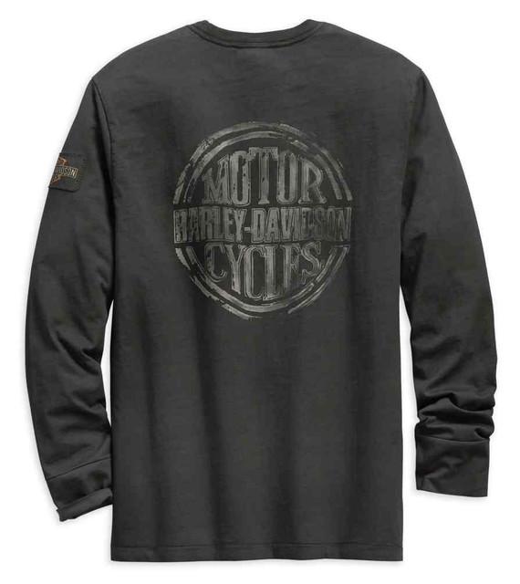 Harley-Davidson Men's Discharge Print Slim Fit Long Sleeve Tee, Gray 99141-19VM - Wisconsin Harley-Davidson
