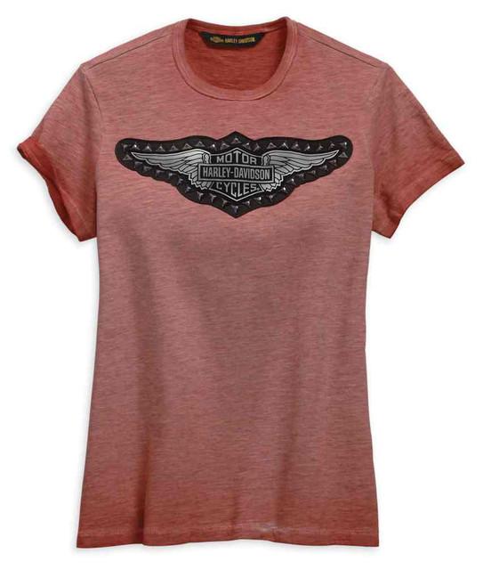 Harley-Davidson Women's Studded Wing Short Sleeve Tee - Red 99275-19VW - Wisconsin Harley-Davidson