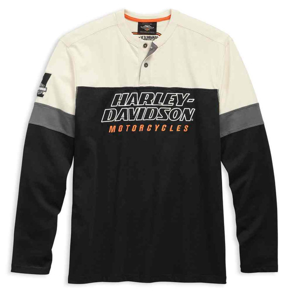 Harley-Davidson Men's H-D Racing Long Sleeve Colorblocked Henley 99167-19VM - Wisconsin Harley-Davidson