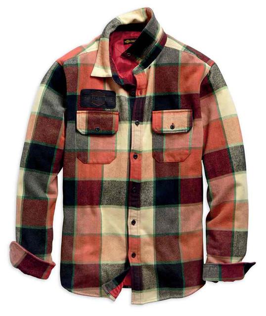 Harley-Davidson Men's Logo Lined Slim Fit Plaid Shirt Jacket - Red 99259-19VM - Wisconsin Harley-Davidson