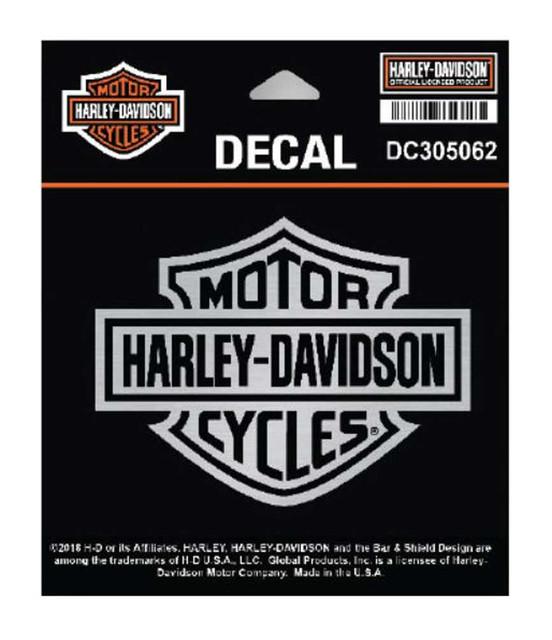 Harley-Davidson Brushed Silver Plastic Bar & Shield Logo Decal, Die-Cut DC302062 - Wisconsin Harley-Davidson
